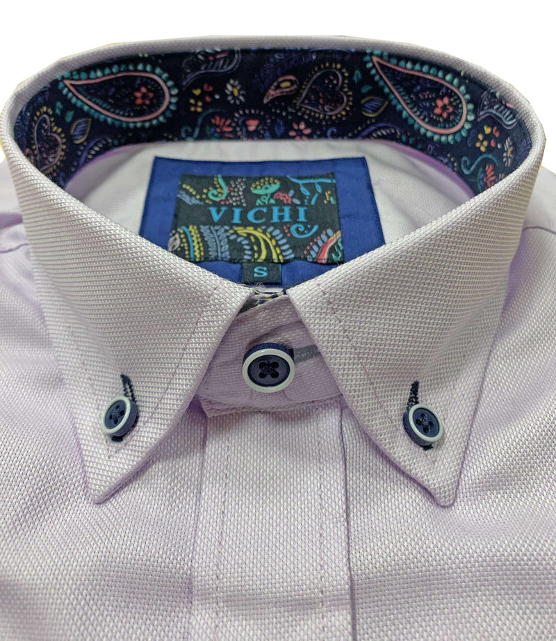 Vichi - Oxford Shirt Tailored Fit - James Lilac, Blue