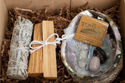 Palo Santo and White Sage Smoke Cleansing Kit with Incense Matches , Crystal Kit, and Abalone Shell