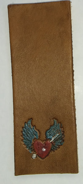 Winged heart leather bookmark
