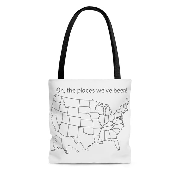Oh, the places we've been colorable Tote Bag
