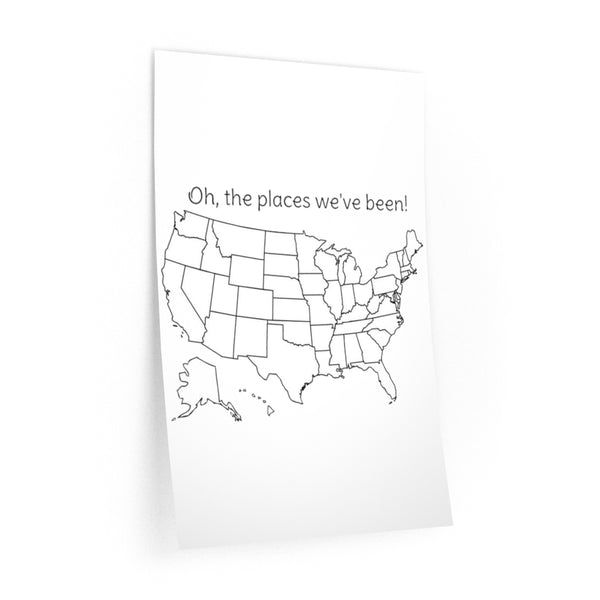 Oh, the places we've been colorable Wall Decal