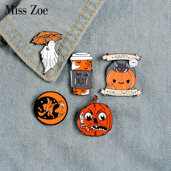 Happy Halloween pins and brooches