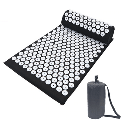Acupressure Mat for Massage, Relaxation, Pain HomeQuill Black Mat with Pillow