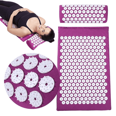Acupressure Mat for Massage, Relaxation, Pain HomeQuill Purple Mat with Pillow