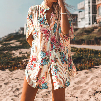Gliders™ Ladies' Floral Print Buttoned Cover-up