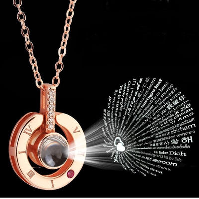 100 languages I love you Projection Pendant Necklace HomeQuill