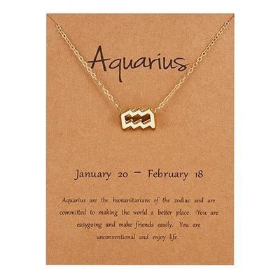Gold Zodiac Necklace for Women HomeQuill Aquarius