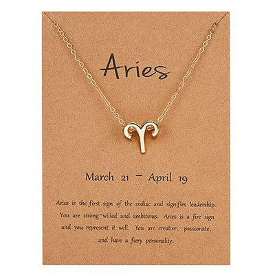 Gold Zodiac Necklace for Women HomeQuill Aries