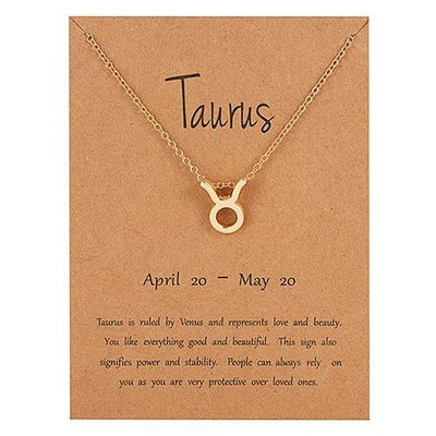 Gold Zodiac Necklace for Women HomeQuill Taurus