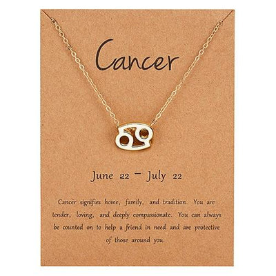 Gold Zodiac Necklace for Women HomeQuill Cancer