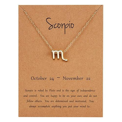 Gold Zodiac Necklace for Women HomeQuill Scorpio