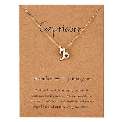 Gold Zodiac Necklace for Women HomeQuill Capricorn