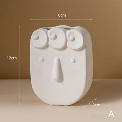 HomeQuill™ Minimalist Abstract Face Vase
