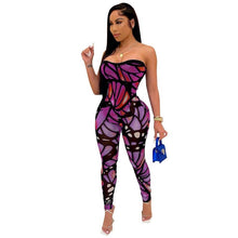 Load image into Gallery viewer, Butterfly Print Sexy Jumpsuit Women Bodycon Club Party Rompers Womens