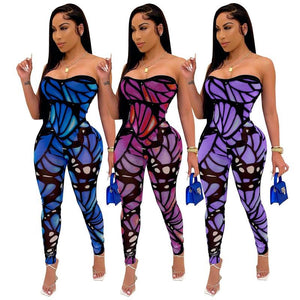 Butterfly Print Sexy Jumpsuit Women Bodycon Club Party Rompers Womens