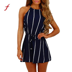 Women casual Off Shoulder Striped sexy jumpsuit in Sleeveless