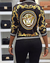 Load image into Gallery viewer, Fashion Long Sleeve Printed White Binding Plus Size Casual Jacket