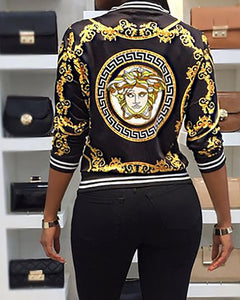 Fashion Long Sleeve Printed White Binding Plus Size Casual Jacket