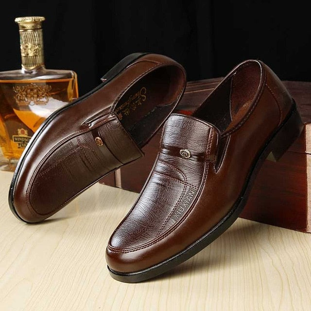 Mazefeng Brand Men Leather Formal Business Shoes Male Office Work Flat Shoes Oxford Breathable Party Wedding Anniversary Shoes