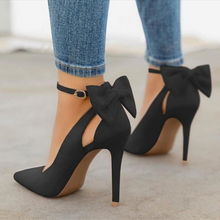 Indlæs billede til gallerivisning New bow pumps women high heels woman pointed toe stiletto pumps sexy party woman black plus size shoes wedding shoes ladies