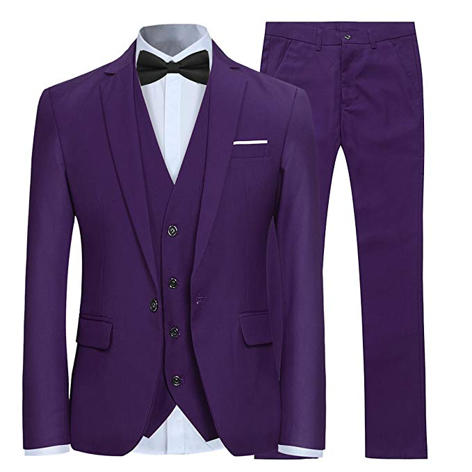 Purple One Button Mans Suits For Wedding Party Suits Tailor Made Slim Fit Groom Tuxedos Best Man Wear 3 Piece(Jacket+Pants+Vest)