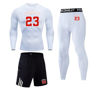 Men's Sportswear Running Tights Set Sport suit Gym Compression Clothing Jogging suit track suit Basketball Training Base S-4XL