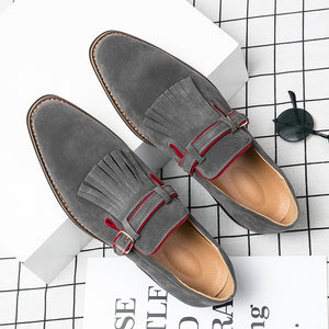 Misalwa Size 38-48 Buckle Strap Men Formal Shoes Suede Slip on Man Flats Green Luxury Oxfords Bangs Tassel Party Ceremony Shoes