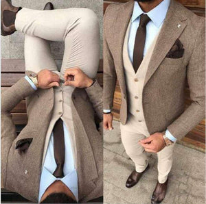 Gentleman Winter Tweed Fabric Man Business Suits Groom Tuxedos Men Prom Party Coat Trousers Sets Three Suit(Jacket+Vest+Pants)