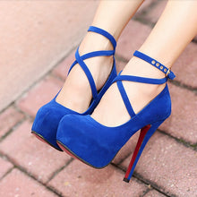 Load image into Gallery viewer, Shoes Woman Pumps Cross-tied Ankle Strap Wedding Party Shoes Platform Dress Women Shoes High Heels Suede Ladies Shoes Plus Size