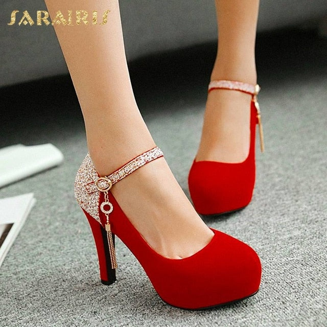 SARAIRIS Brand 2020 Elegant bride Big Size 43 High Heels Party women Shoes Woman Platform round toe mary janes Pumps shoes