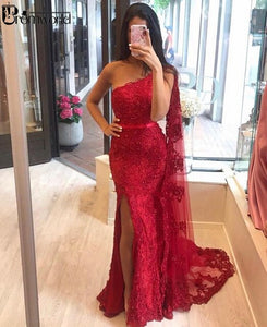 Sexy Lace Mermaid Evening Dresses 2020 Champagne Beads Appliques Side Slit One Shoulder Dubai Arabic Long Formal Evening Gowns