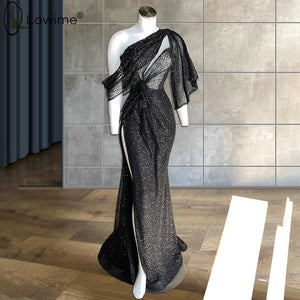 Robes De Soirée 2020 Sexy Black One Shoulder Illusion Evening Dresses Side Split Mermaid Sequined Party Prom Dress Middle East