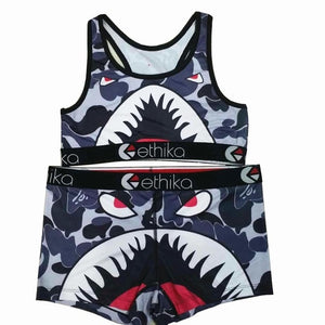 Ethika women Bra and underpants set Camouflage shark Sexy Two Piece Spaghetti Strap Sleeveless sports Crop tops Shorts female