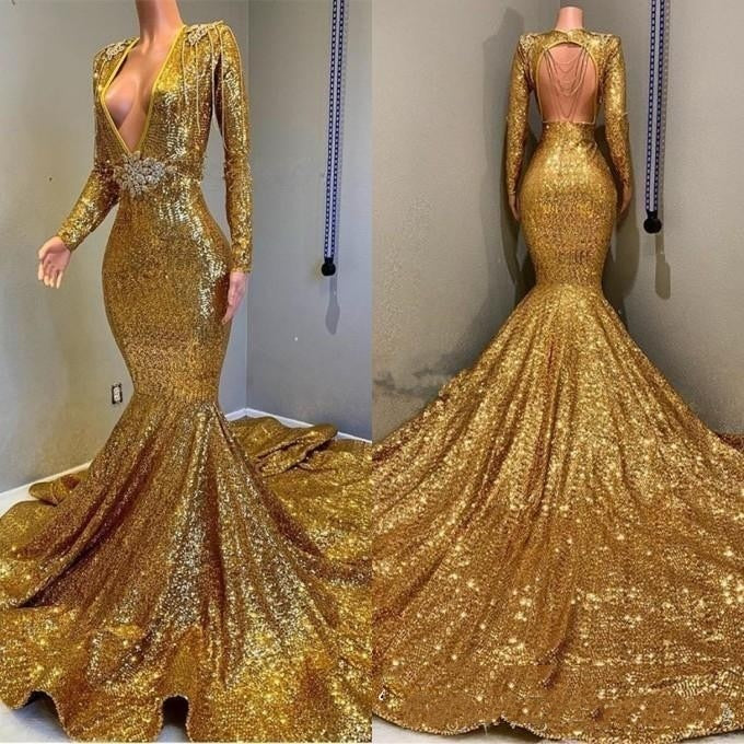 Sparkly New Sexy Deep V Neck Gold Mermaid Prom Dresses Long Sleeve Open Back Sequined Formal Evening Gowns Celebrity Party Gowns