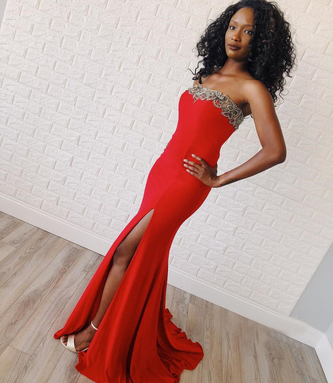 Spandex Red Mermaid Prom Dresses Sleeveless Strapless Court Train Beaded Formal Evening Party Gowns Robe De Soire