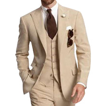 Load image into Gallery viewer, Beige Three Piece Business Party Best Men Suits Peaked Lapel Two Button Custom Made Wedding Groom Tuxedos (Jacket+Pants+Vest)