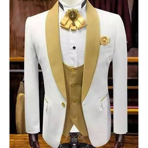 White Wedding Tuxedo for Groom with Gold Shawl Lapel 3 Piece Custom Slim Fit Men Suits Set Jacket Vest Pant Male Fashion Clothes