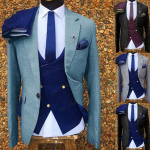 2020 Sea Blue Mens Business Suits 3 Pieces Slim Fit Dinner  Wedding Groom Tuxedo Tailored Jacket Double Breasted Vest Pants Set
