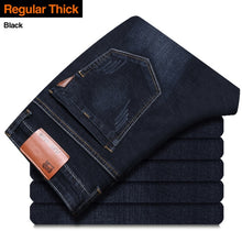 Indlæs billede til gallerivisning Brother Wang Classic Style Men Brand Jeans Business Casual Stretch Slim Denim Pants Light Blue Black Trousers Male