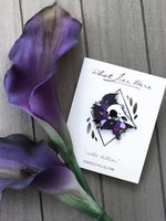 Load image into Gallery viewer, Calla Lilies Raven Enamel Pin