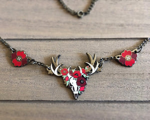 Red Poppies Deer Necklace