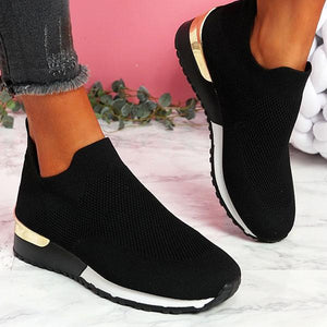 Women's Sneakers Elastic Slip on Flat Walking Shoes
