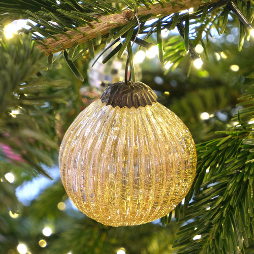 Champagne Colored Glass Ornament with Ridges - La Porte Bonheur