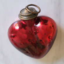 Load image into Gallery viewer, Dark Red Heart Mercury Glass Ornament - La Porte Bonheur