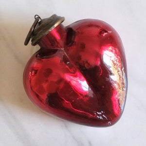 Dark Red Heart Mercury Glass Ornament - La Porte Bonheur