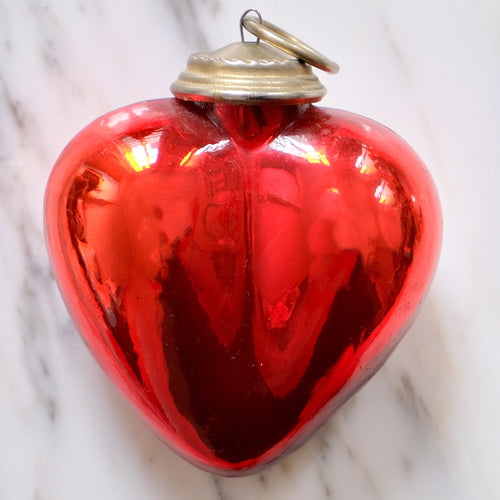 Red Heart Mercury Glass Ornament - La Porte Bonheur