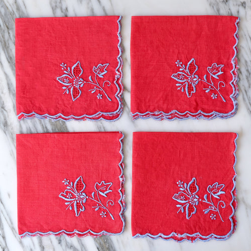 Red Linen Cocktail Napkins with Embroidered Blue Flowers - La Porte Bonheur