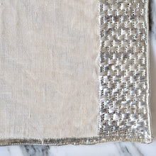 Load image into Gallery viewer, Silver Embroidered Natural Napkins and Placemats - La Porte Bonheur