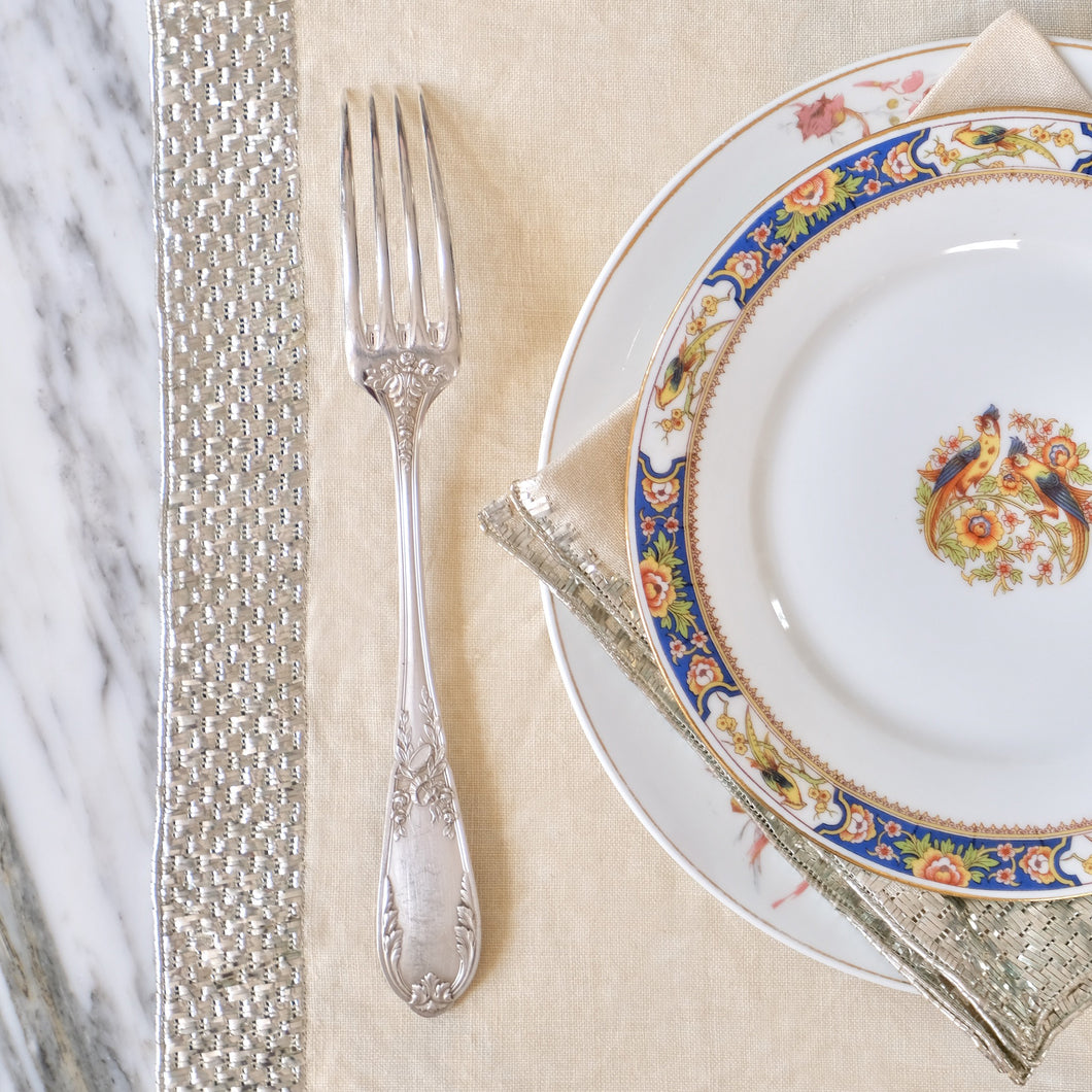 Silver Embroidered Natural Napkins and Placemats - La Porte Bonheur