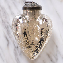 Load image into Gallery viewer, Silver Heart Mercury Glass Ornament - La Porte Bonheur